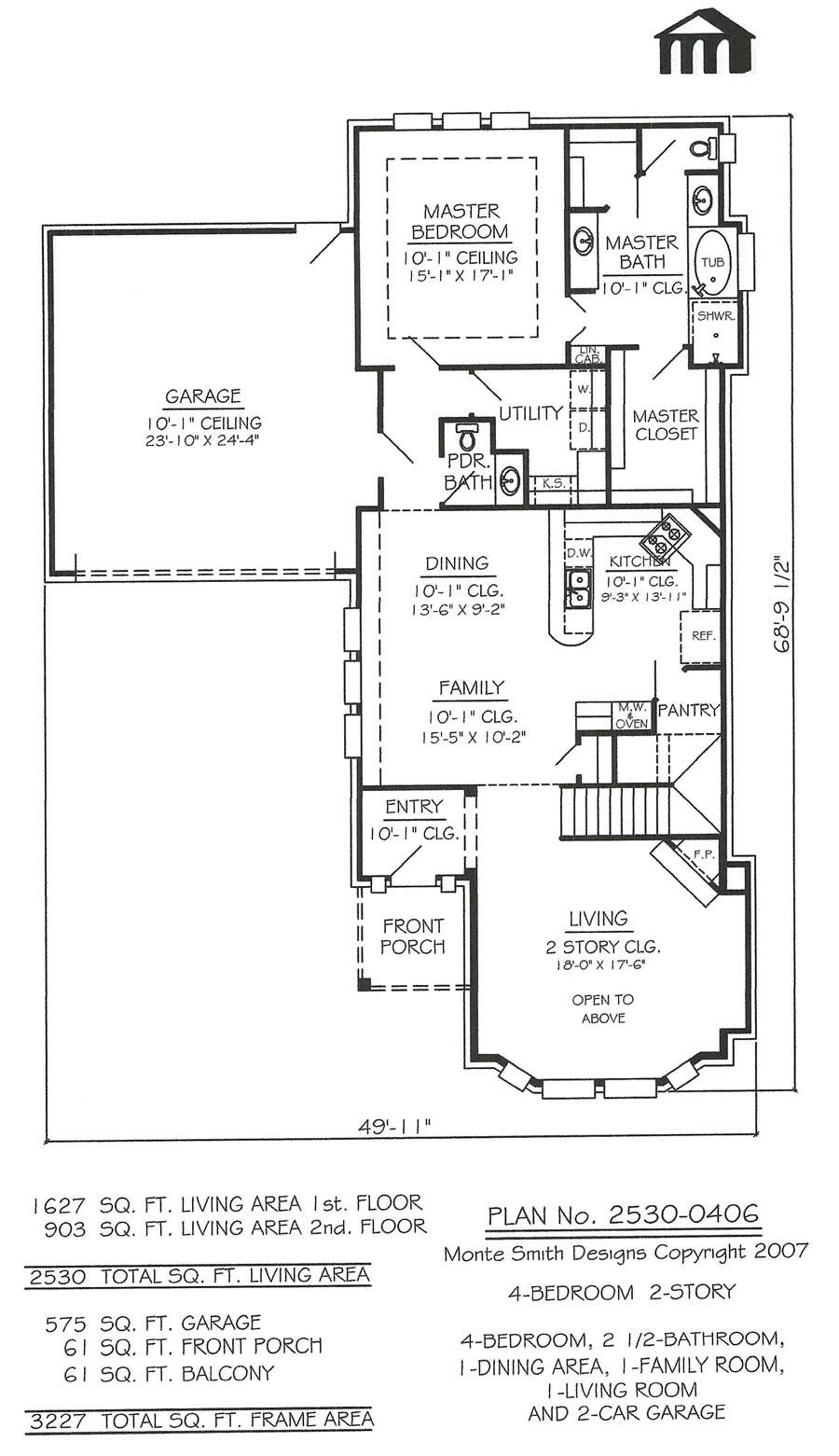2 story 4 bedroom 2 1 2 bathroom 1 dining room 1 family room 1 living room and 2 car garage 2530 sq living area house plan offices in texas and  [ 900 x 1561 Pixel ]