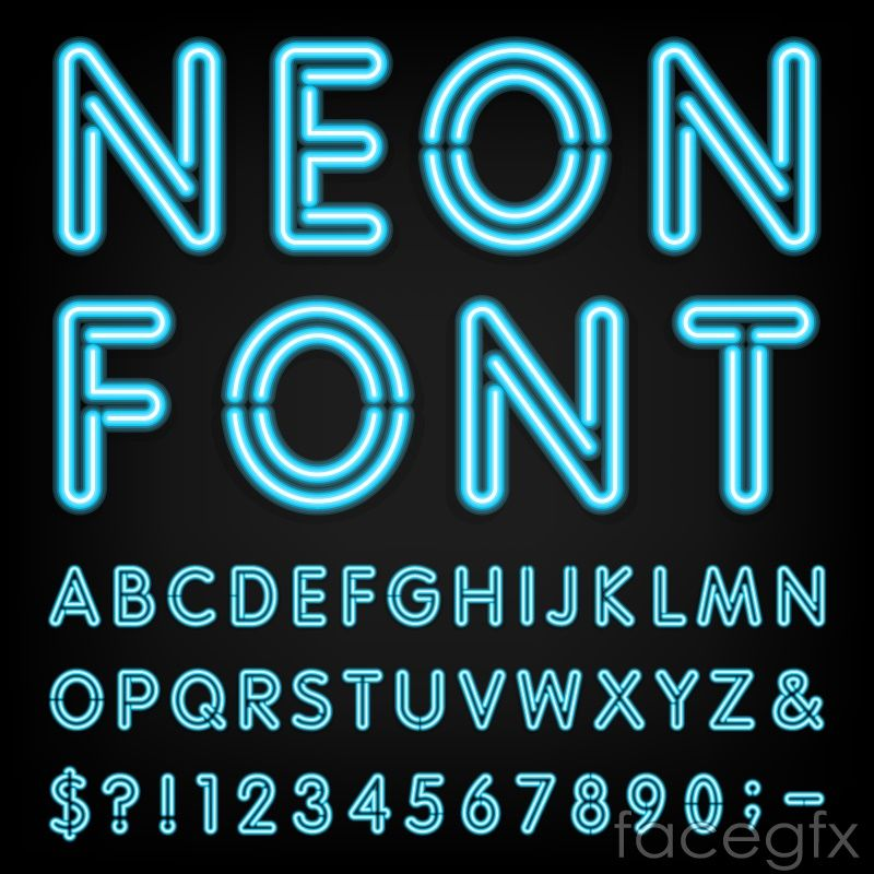 Free Download Blue Neon Alphabet Vector Includes Symbols Figures Letter WordArt And Fonts Category Font