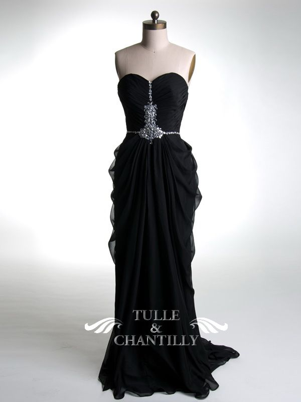 Gorgeous Black Beaded Formal Evening Dress Gown With Draped Skirt