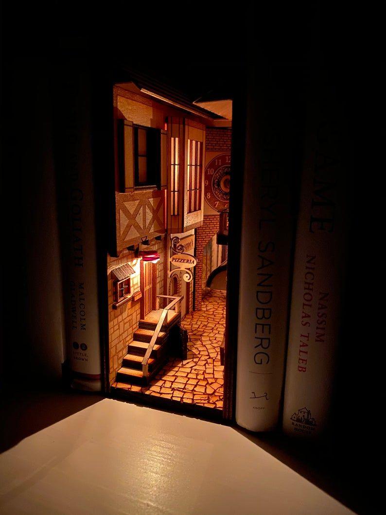Lit Alice In Wonderland Book Nook Diorama Bookshelf Shadow Box Alice In Wonderland Book Book Nooks Bookshelf Art