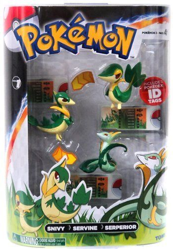 """Pokemon TOMY Basic Figure Evolution 3-Pack Snivy, Servine & Serperior by Tomy. $15.99. Let the evolution begin. Pick your favorite Pok mon and capture each stage of the metamorphosis. Each pack contains three, 2"""" PVC figures with accurate coloration and fine detail showing your Pok mon across three evolutionary stages. As your Pok mon's power increases, track it's changing height, weight, and type with three included Pok dex ID Tags."""