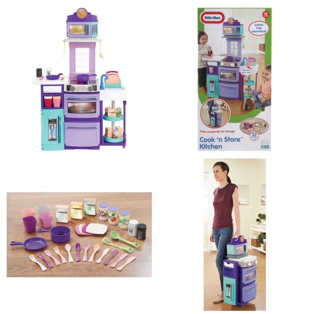 Little Tikes Pretend Kitchen Purple Blue Toddler Fully Assembled ...