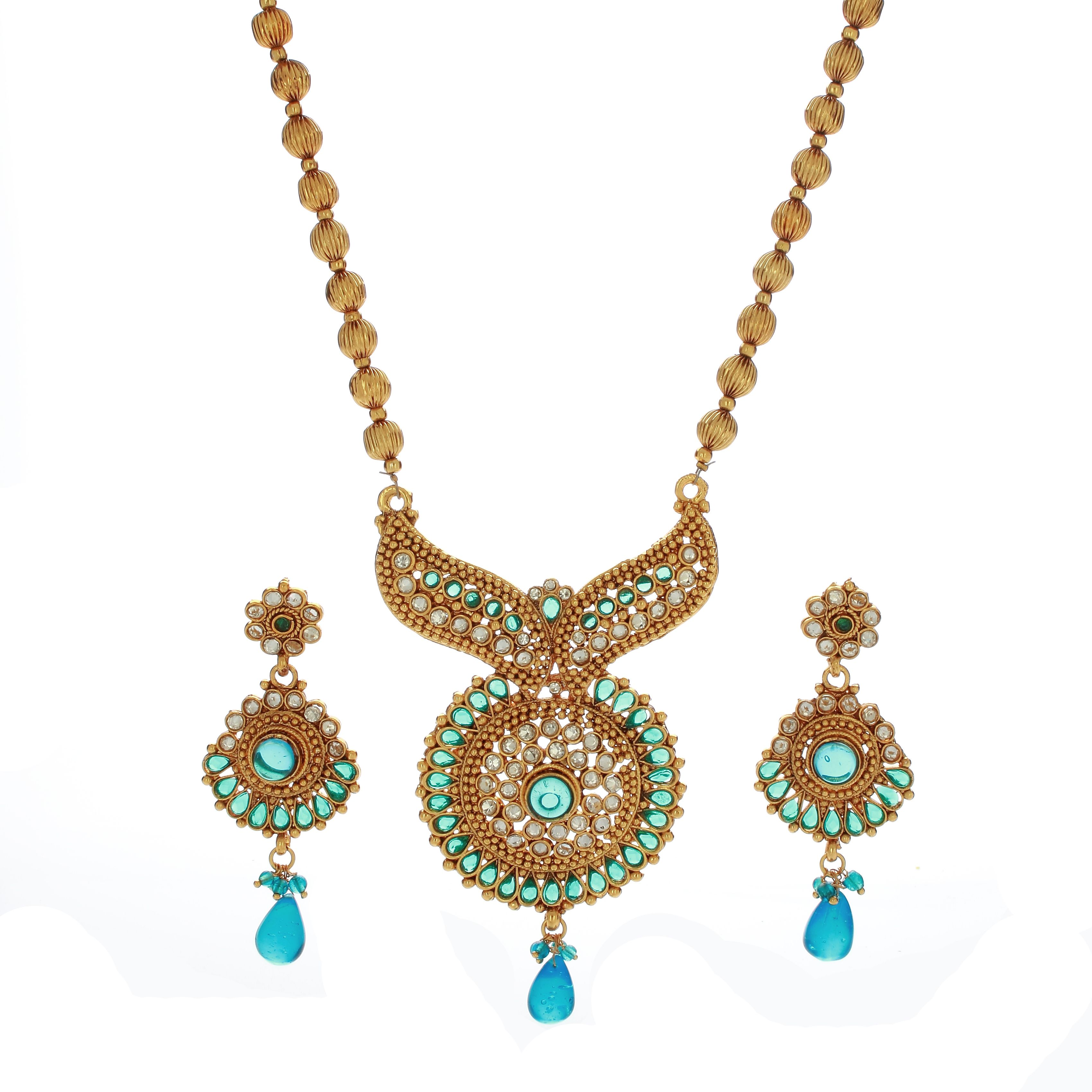 Blue Stone Studded Designer Necklace Set Imitation jewellery