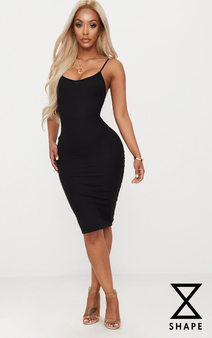 67fc0e2d4ccd Shape Black Ribbed Strappy Midi Dress in 2019