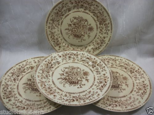 4 Brown Transferware Dinner Plates Unmarked Floral Design | eBay