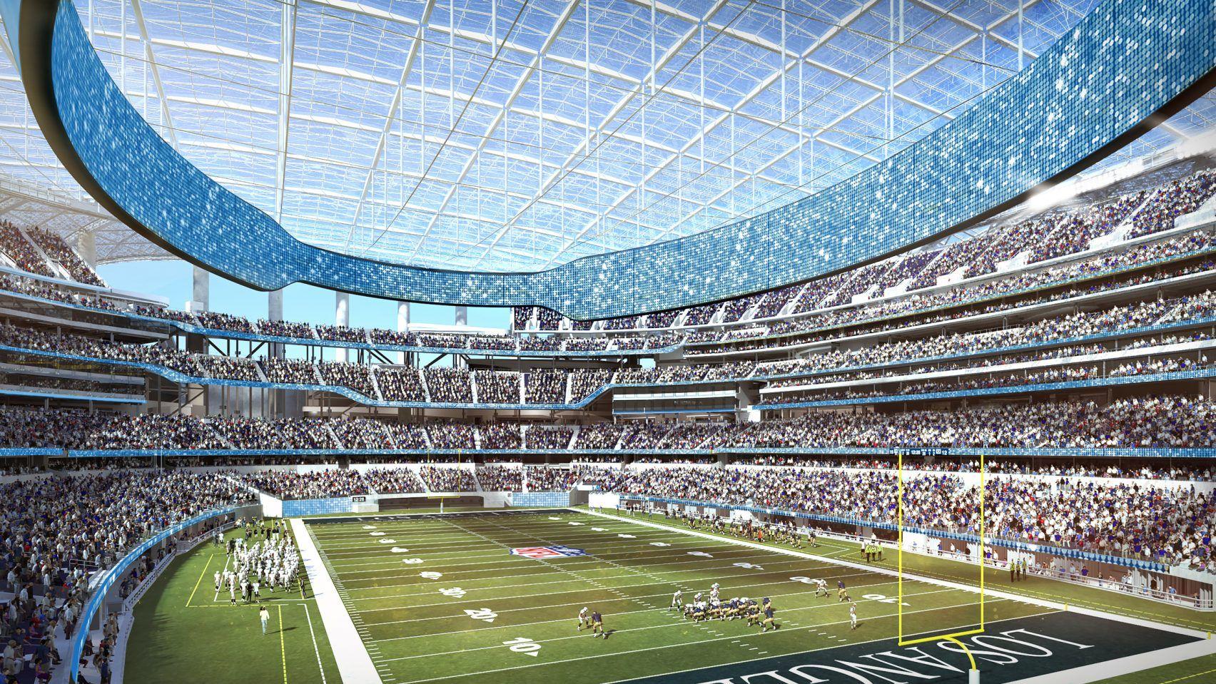 Construction Begins On Stadium For American Football Team La Rams Nfl Stadiums Sports Stadium Football Stadiums