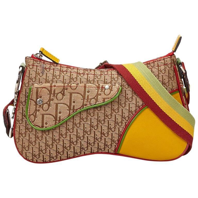 Dior Brown Jacquard Diorissimo Rasta Shoulder Bag  9d0f1b72e83fa