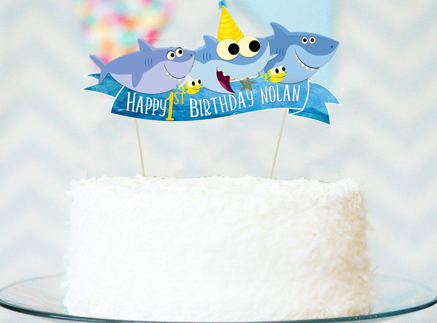 Baby shark happy birthday cake topper print yourself