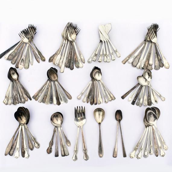 Lot Of Silver Plate Flatware 105 pieces total, Giving You 5 Extra Pieces For Free! Gorgeous Mixed Detailed Patterns, Everything From Antique To Vintage! Various Monogrammed Items!Consists Of 2 Large Forks, 7 Various Knives (Butter, Fish Knives Etc), 2 Iced Tea Spoons, 1 Large Serving Spoon, 33 Forks, 41 Tsp, 14 Tbl/Serving Spoons, And 5 Soup Spoons Smallest Piece Measures 6