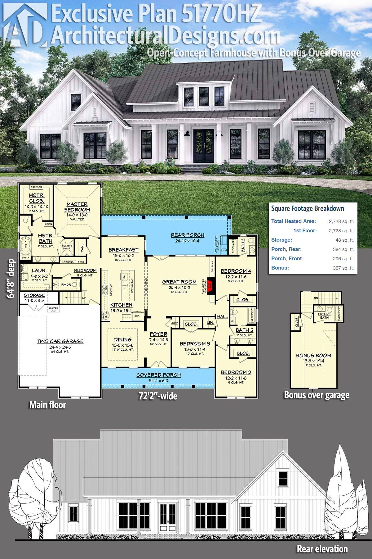 Plan 51770hz open concept farmhouse with bonus over for Garage plans with bonus room