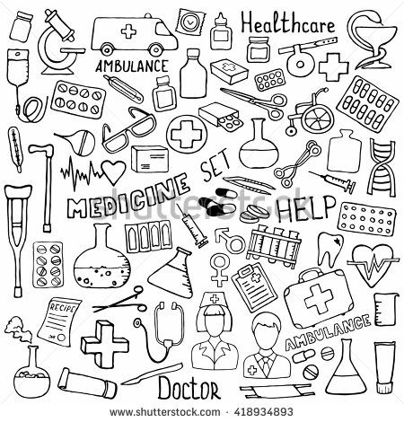 Hand Drawn Medicine Icon Set Medical Sketched Collection Healthcare Pharmacy Doodle Icons Vector Illustrat Doodle Illustration Medical Sketches Doodle Book
