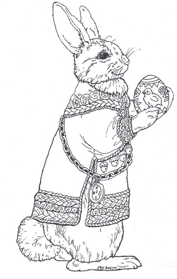 bunny coloring page auf janbrett com