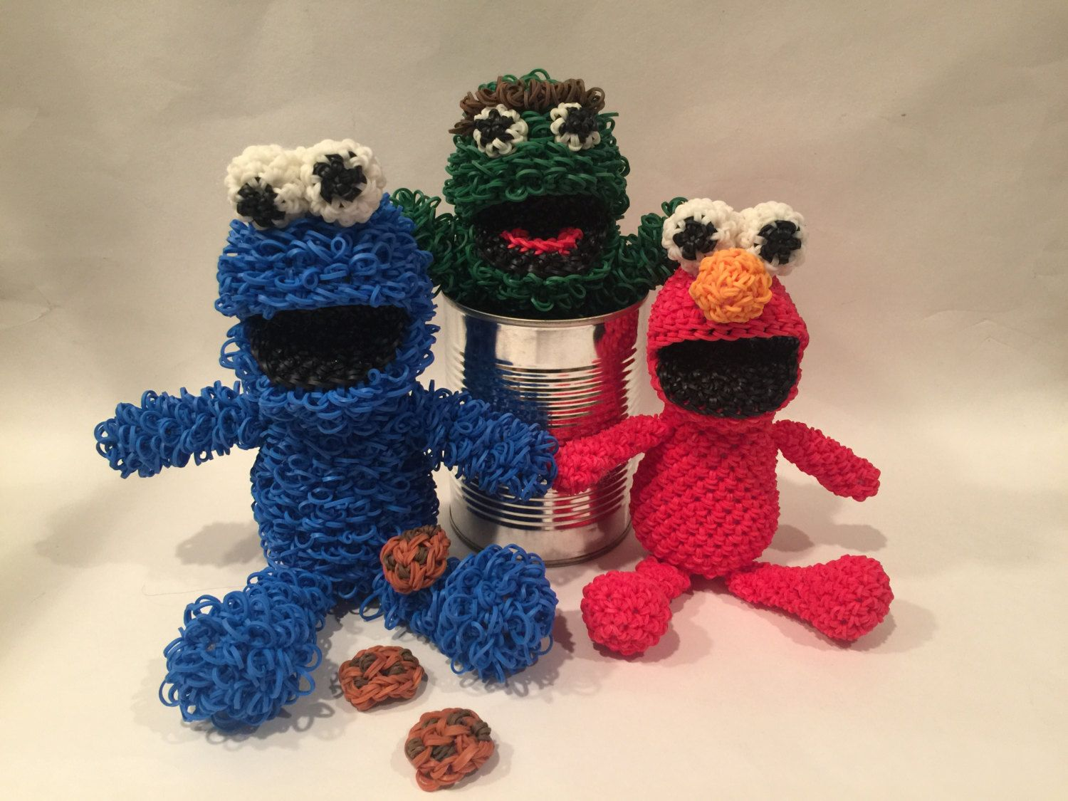 Cookie Monster Elmo Oscar The Grouch Combo Play Pack Rubber Band Rainbow Loom Diagram Figure Loomigurumi Disney By Bblncreations On Etsy