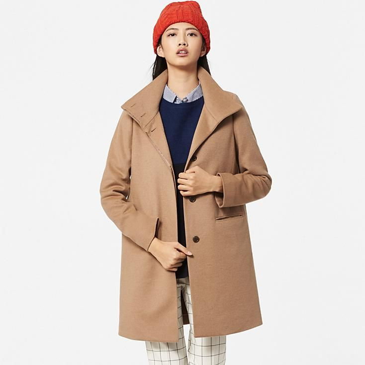 WOMEN CASHMERE BLENDED STAND COLLAR COAT | clothes | Pinterest ...