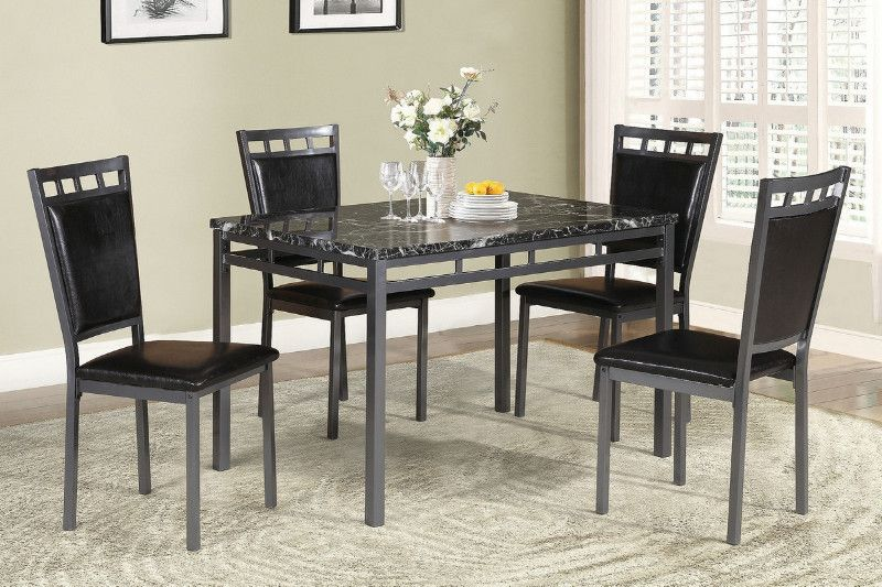 Poundex F2389 5pc 5 Pc Branda Faux Marble Finish Top Dining Table