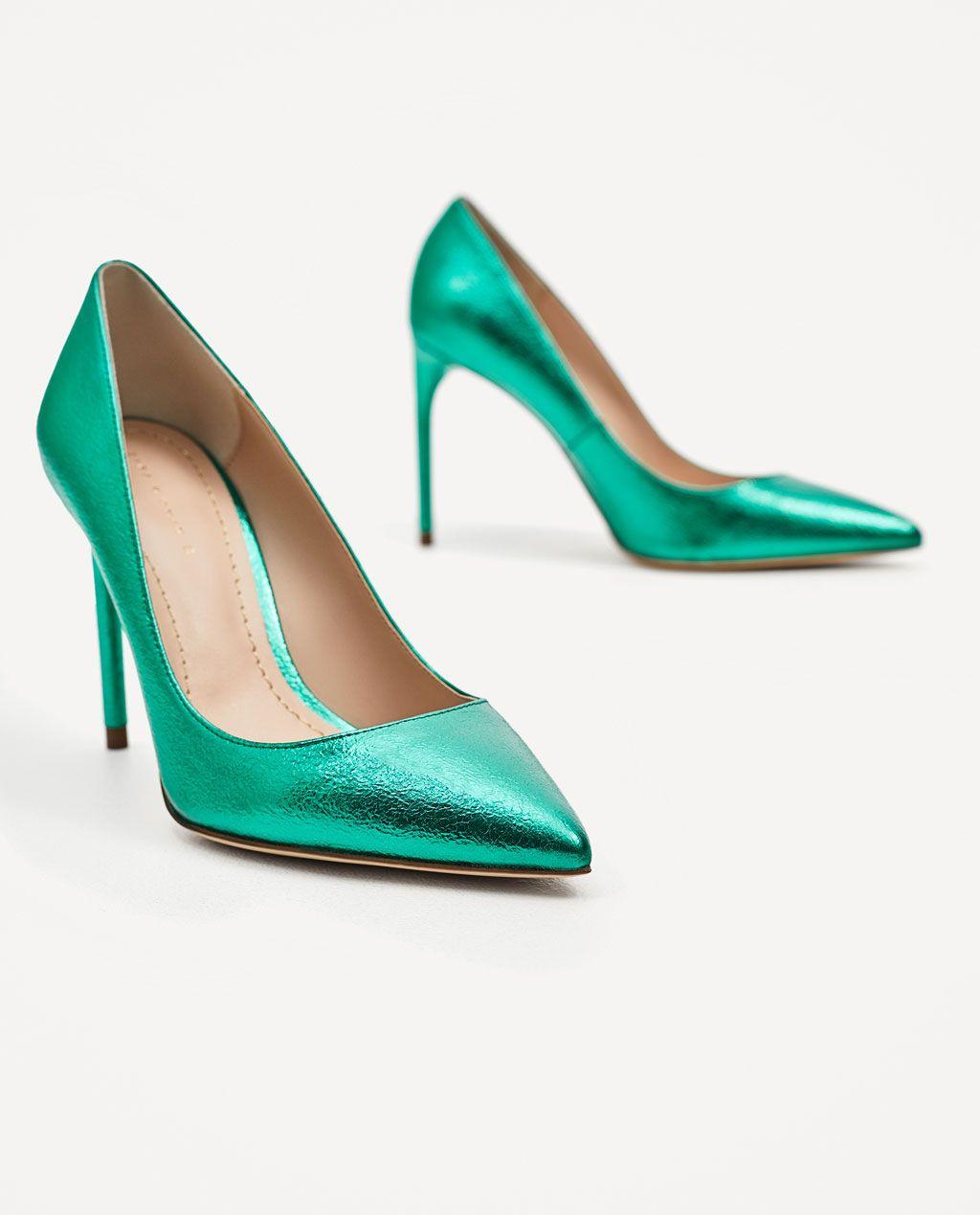 Zara Woman Metallic Green Court Shoes Absatz Grune High Heels Fruhlingsschuhe