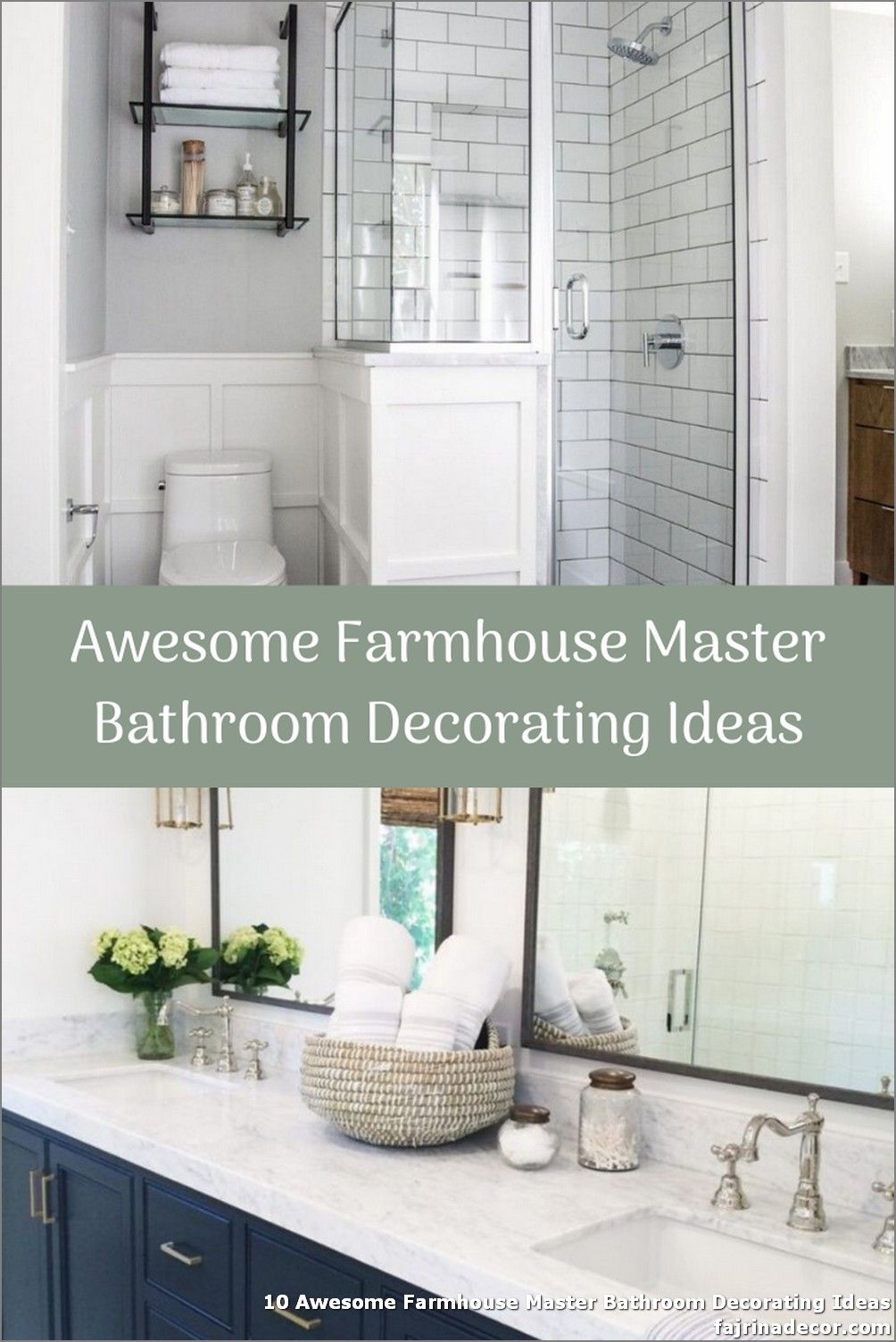 10 Awesome Farmhouse Master Bathroom Decorating Ideas In 2020 Master Bathroom Decor Farmhouse Master Bathroom Bathroom Decor