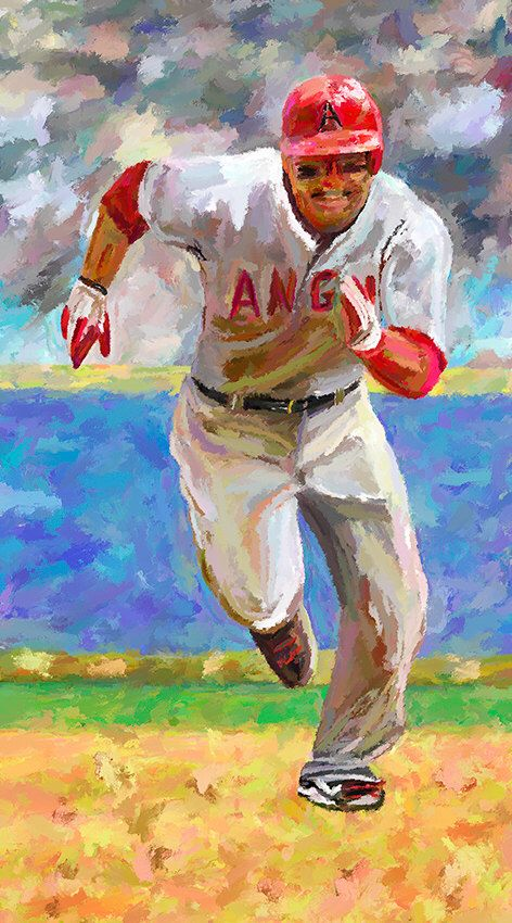 5869285681 Baseball Mike Trout Canvas Fine Art Print Digital Painting Home Decor Wall Art  Sports Art by