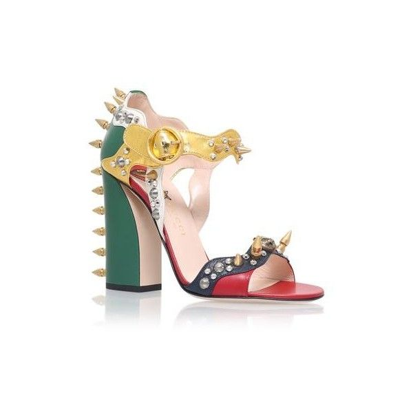 Gucci Malin Spike Leather Sandals (€1.170) ❤ liked on Polyvore featuring shoes, sandals, strap sandals, metallic sandals, leather strappy sandals, metallic block heel sandals and studded shoes