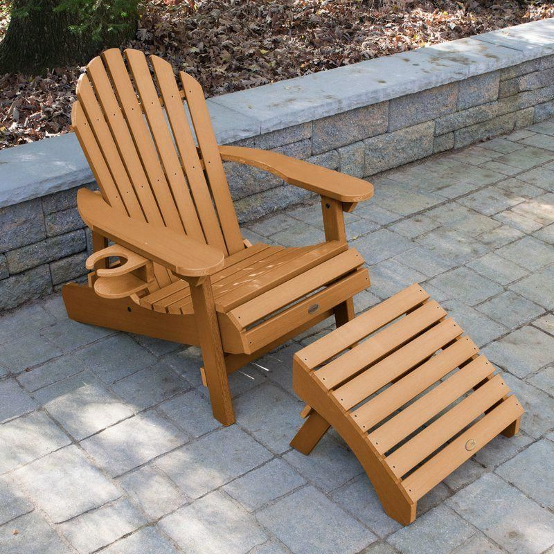 Camacho Plastic Folding Adirondack Chair with Ottoman in