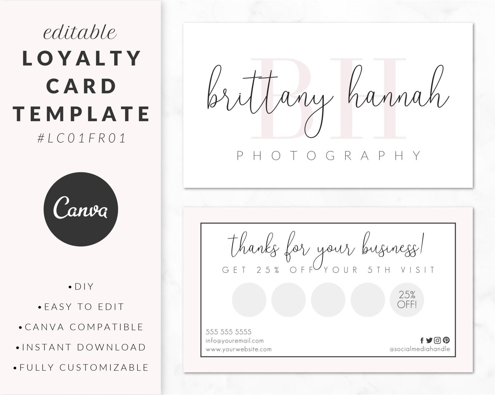 Loyalty Card Template For Canva Business Card Design Printable Diy Customizable Editable Instant Download Branding Lc01fr01 In 2021 Loyalty Card Template Loyalty Card Design Business Card Design