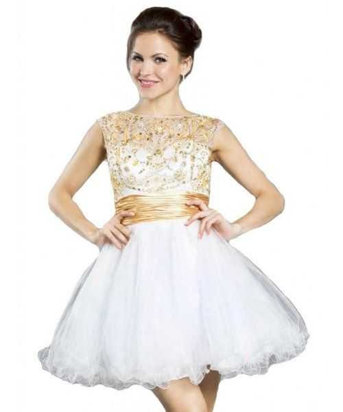 Elegant white prom ball dress with gold embroidery bodice with cap ...