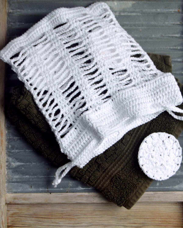 Hæklet vaskepose, gratis opskrift. Perfekt til de små hjemmelavede rondeller