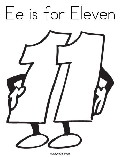 Ee Is For Eleven Coloring Page Coloring Pages Eleventh Numbers Preschool