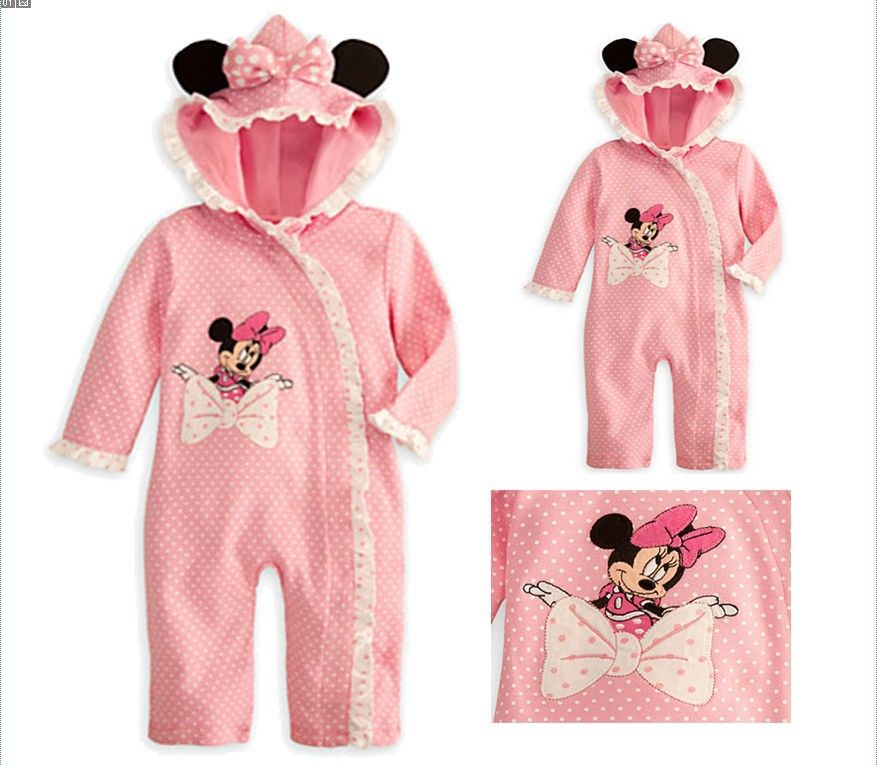 2013 new arrive cute baby girl cartoon animal hat jumpsuit Infant cotton Romper kids clothes for Spring&Autumn pink color $12.20