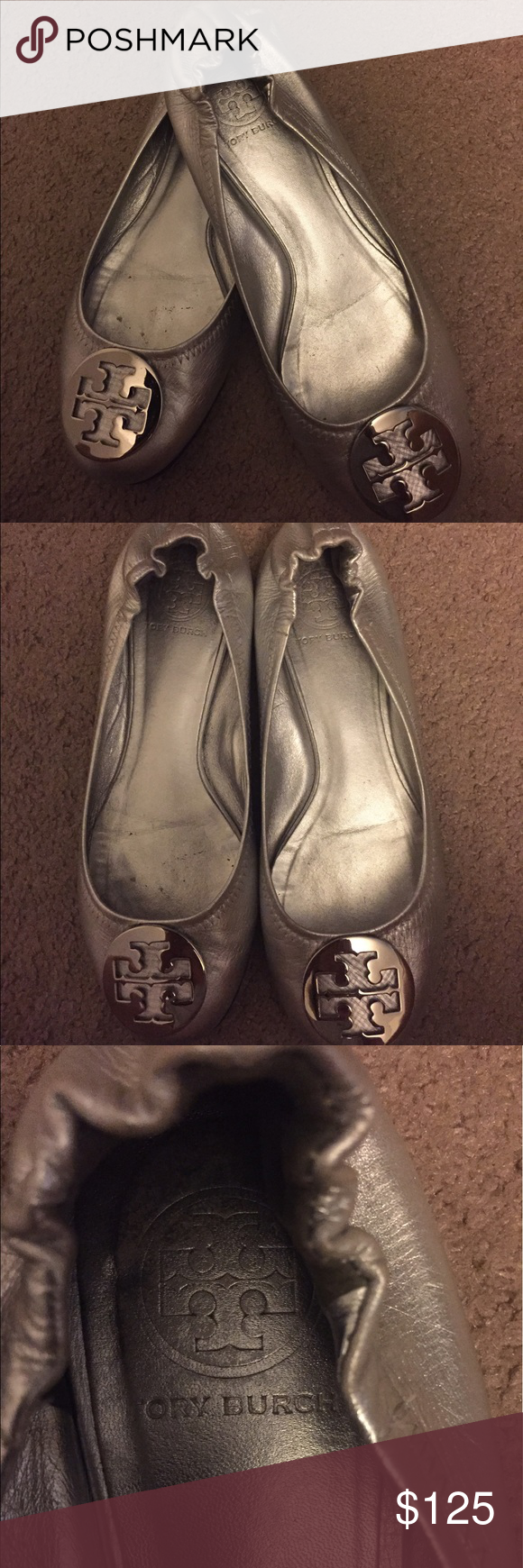 Tory Burch Reva Flats in Metallic Silver Well loved, hardly used and stored inside a shoe box Tory Burch Reva flats in metallic silver. Size: 8.5 Tory Burch Shoes Flats & Loafers