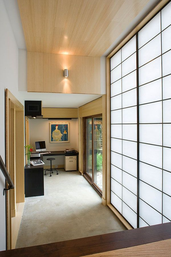 Office-nook with #art in renovated split level home, via 1Kindesign