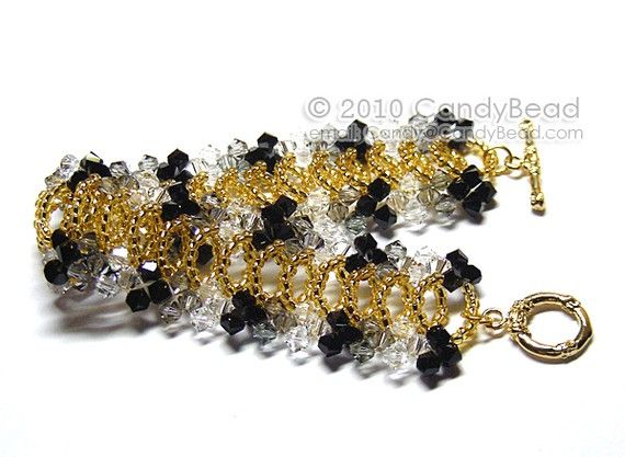 Black and White Splendid Swarovski Crystal Cuff Bracelet with gold toggle clasp by CandyBead