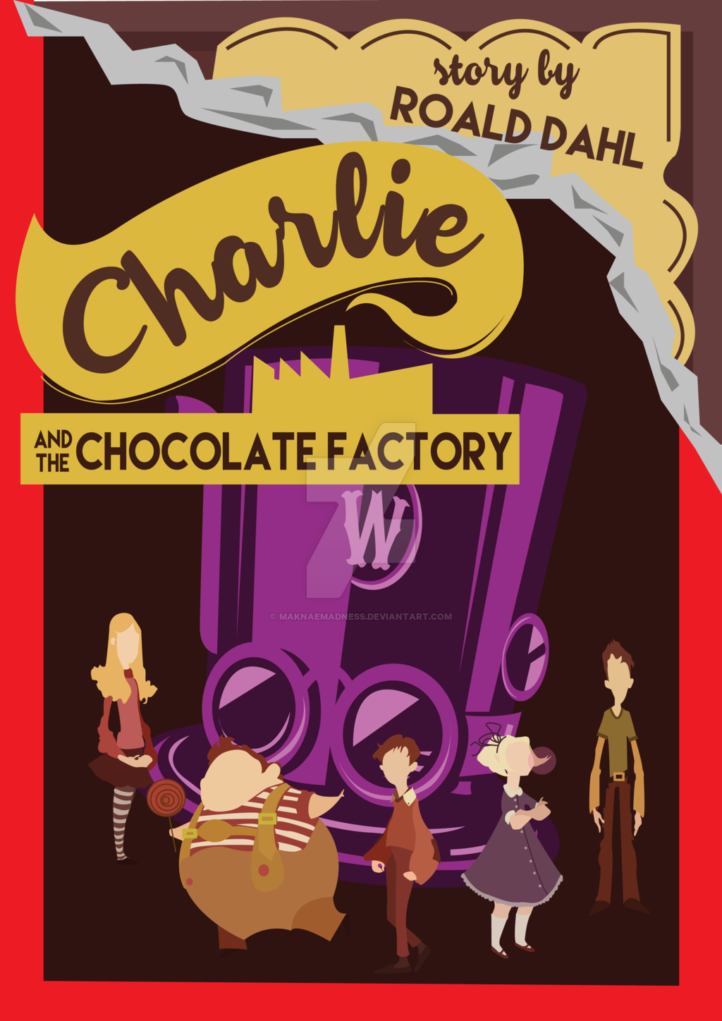 Charlie and the Chocolate Factory Book Cover by maknaemadness on .