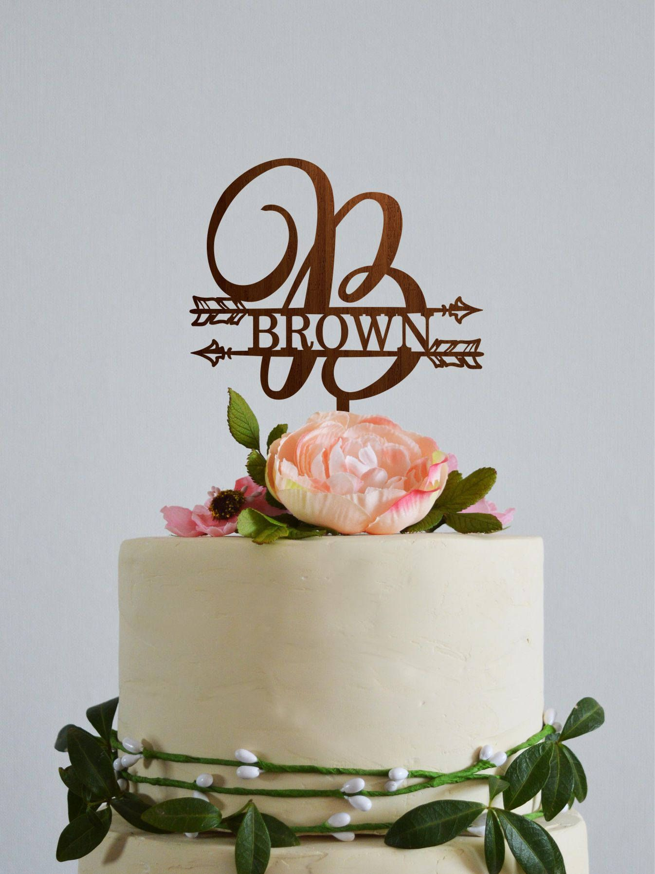Monogram B wedding topper, Last name cake toppers, Wedding cake ...