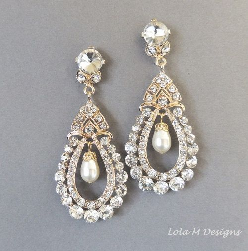 Bridal earrings , Vintage Inspired Swarovski pearl Gold chandelier ...