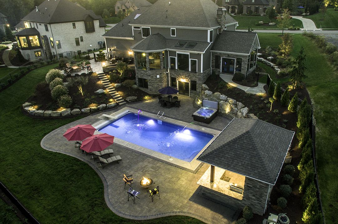 Backyard Retreat In Gibsonia Created For A Beautiful Home In Gibsonia Pa Luxurious Pool And Outdoor Living Spa Outdoor Fire Pit Fire Pit Decor Fire Pit Patio