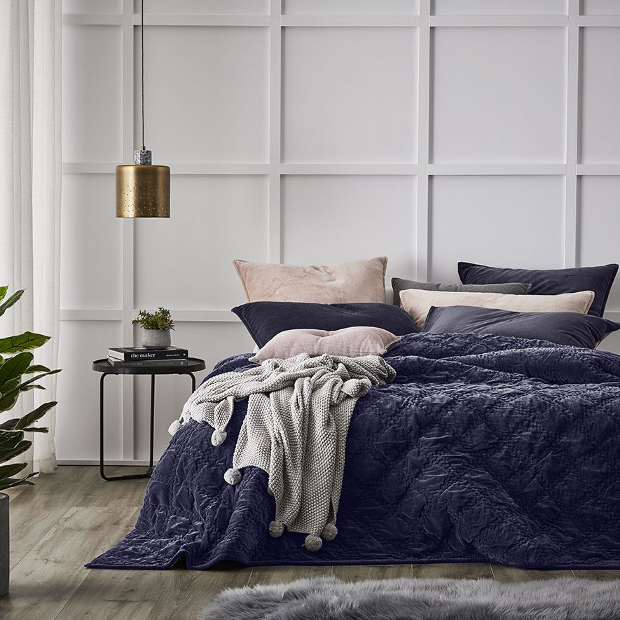 The sophisticated Cotton Velvet coverlet is simple