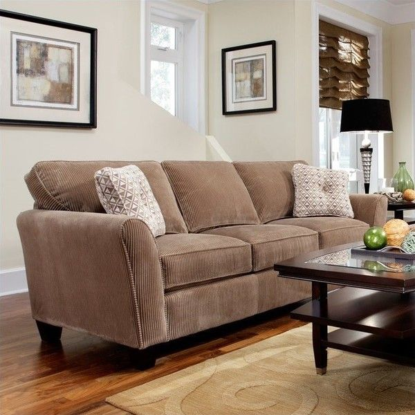 Broyhill Mad Microfiber Mocha Sofa With Affinity Wood Finish 745 Liked On Polyvore