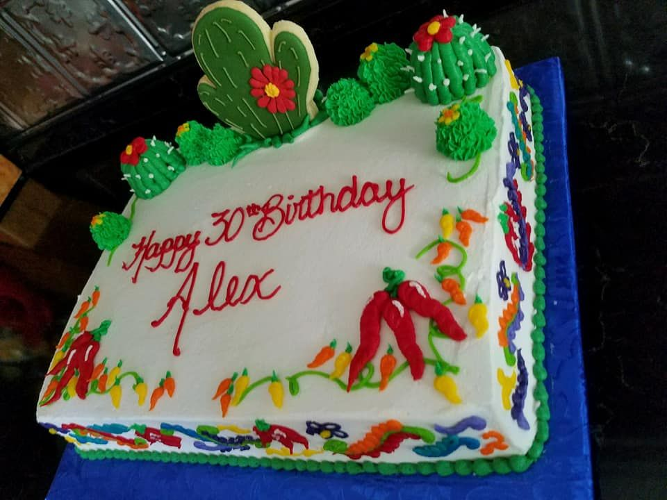 1 4 Sheet Cactus Cinco De Mayo Birthday Cake With A Cookie