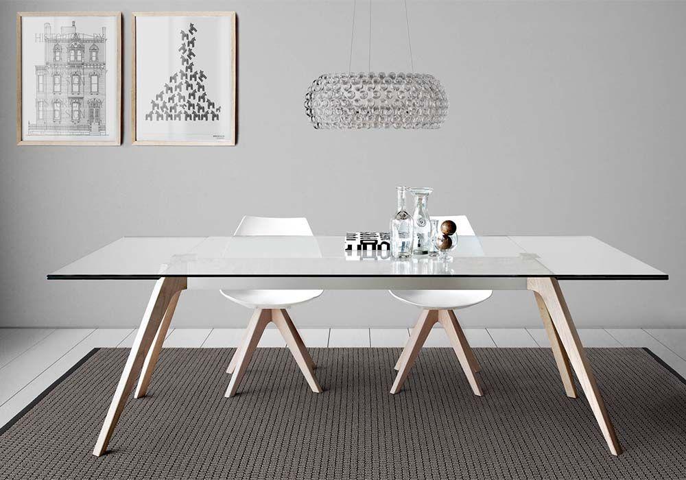 Tavolo pianca ~ Tavolo delta con piano in vetro allungabile con gambe in legno o