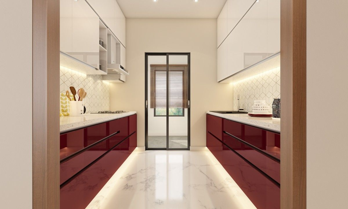 Shop For Scarlet Parallel Modular Kitchen Online In India Great Interior Designs One Click Away Interior Design Kitchen Kitchen Modular Kitchen Design