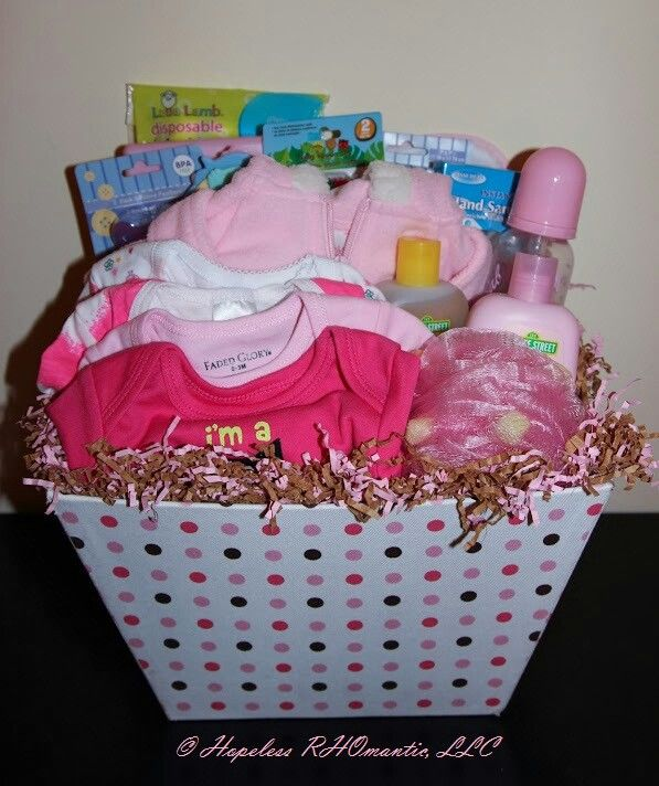 "Homemade Baby Shower Favors For A Girl: ""Polka Dots Baby Girl"" Gift Baskets By Hopeless RHOmantic"