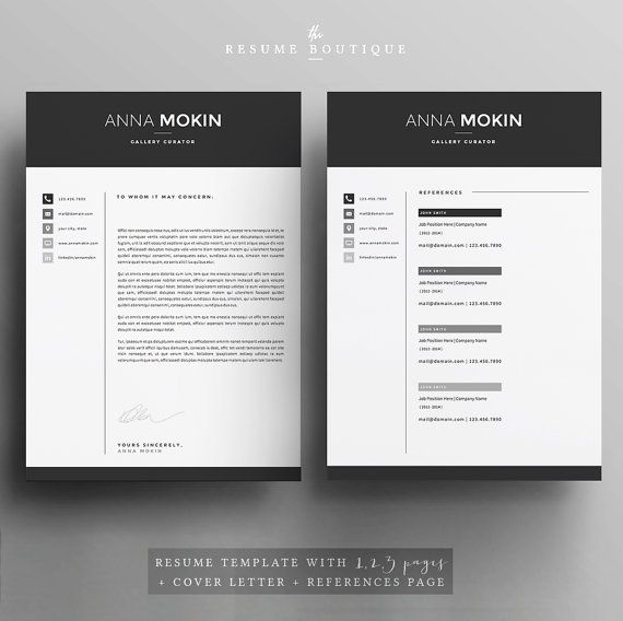 5 page Resume   CV Template + Cover Letter + References for MS - references template for resume