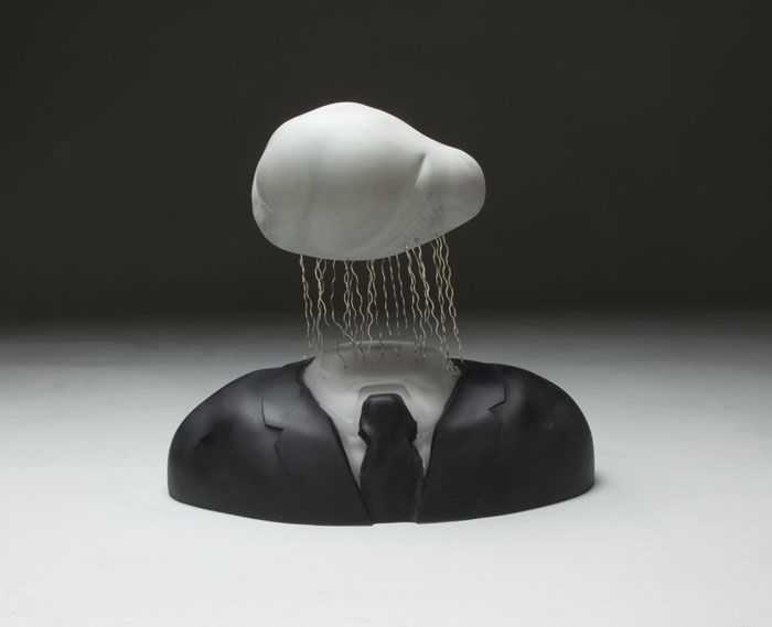 made by: Chadd Lacy , 'Grey Magritte' - Sculpted glass, paint, nickel silver