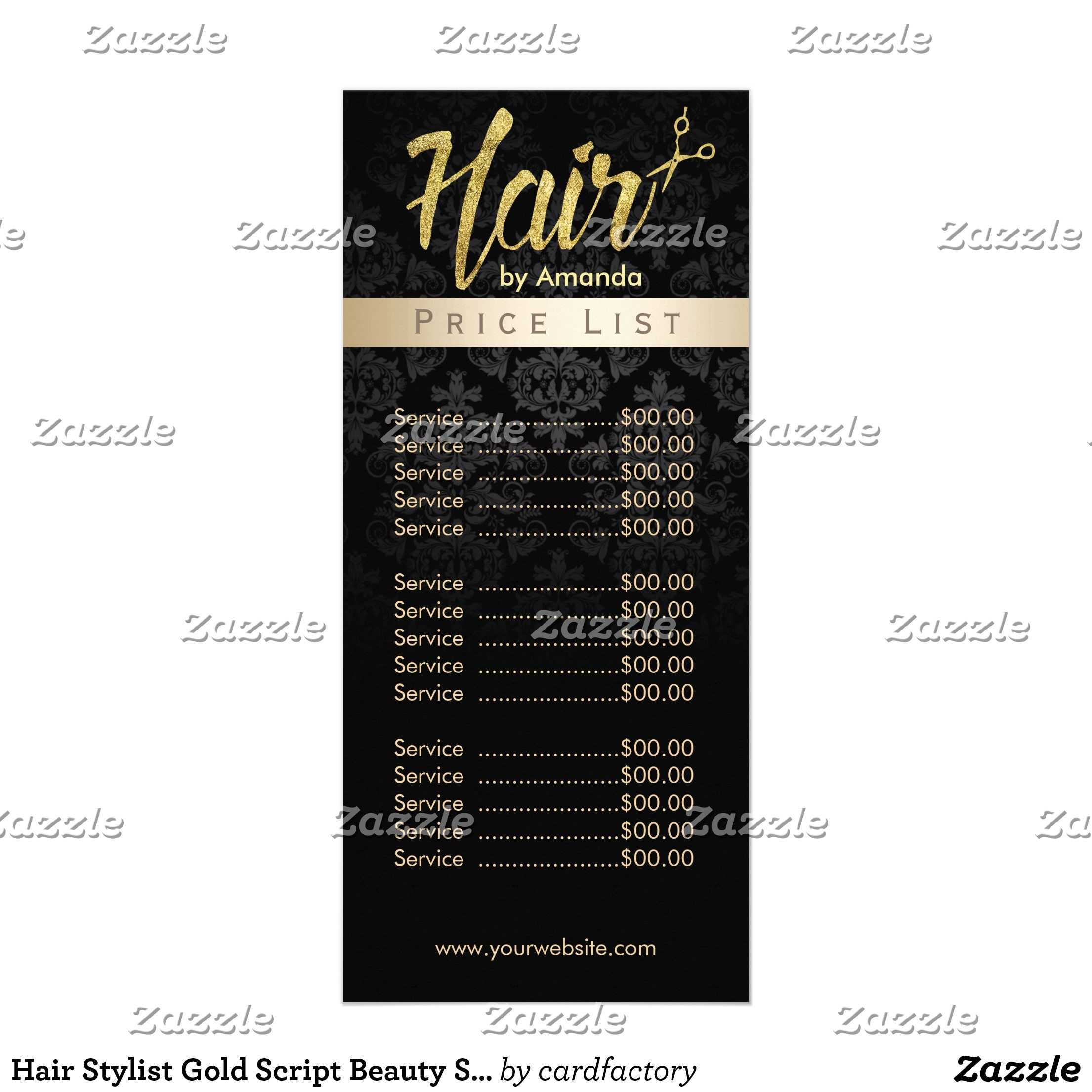 Beauty Salon Prices Hair Stylist Gold Script Beauty Salon Price List Rack Card
