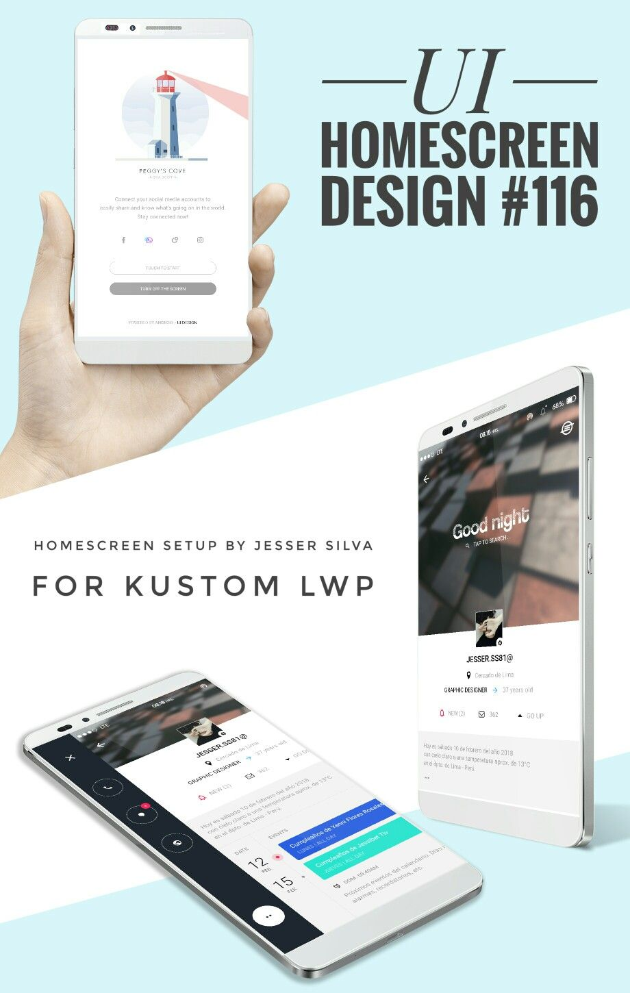 UI homescreen setup design by JSS for Kustom LWP. | Homescreen ...
