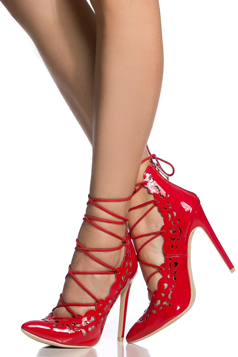 6c6b07ed828 Red Faux Patent Leather Lace Up Pointed Toe Heels   Cicihot Heel Shoes  online store sales Stiletto Heel Shoes