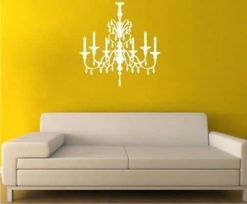 Mirrored-chandelier-wall-art-made-of-vinyl-wall-art-on-the-yellow ...