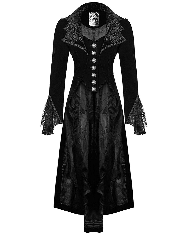 Punk rave jacket frock coat black velvet gothic steampunk vtg