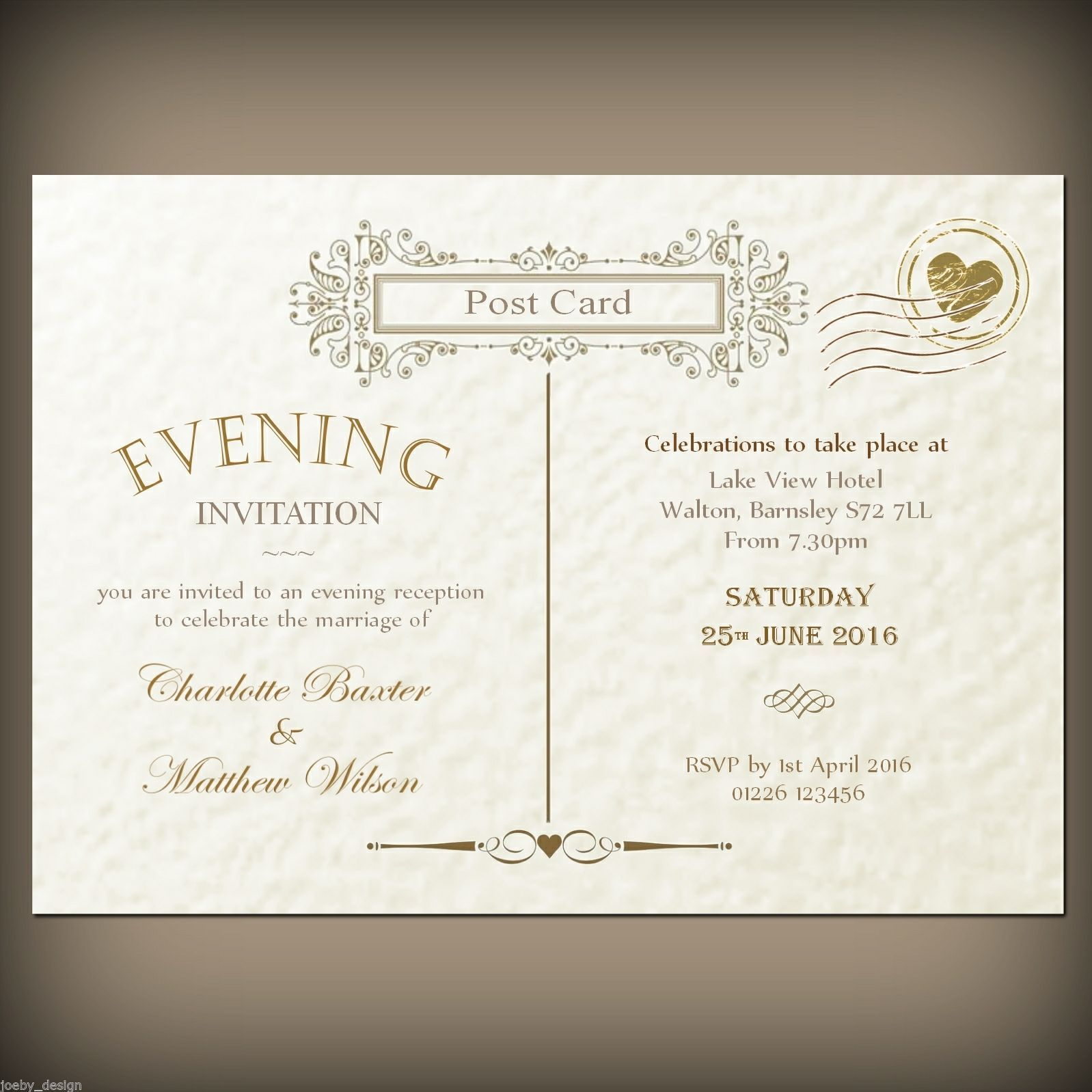 Details about Personalised wedding / evening invitations & envelopes ...